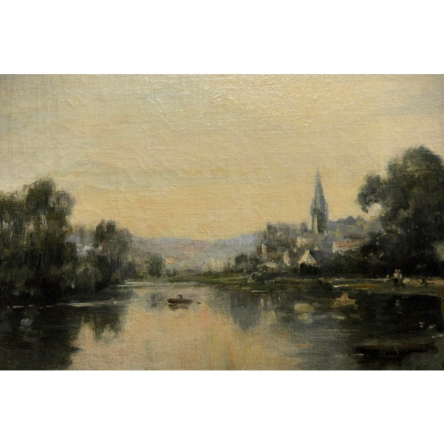 Late 19th Century Maurice Levis -Picturesque French River Scene -19th Century Oil Painting For Sale - Image 5 of 10