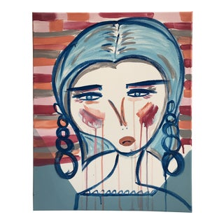 """Anastasia George """"Adeline"""" Original Pink & Blue Face Acrylic Painting For Sale"""