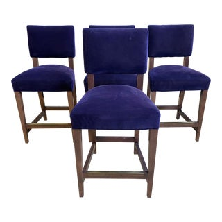 Crate & Barrel Purple Velvet Cody Counter Stools - Set of 4 For Sale