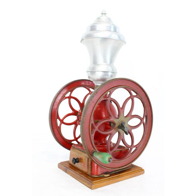 Traditional Large Antique Double Cast Iron Wheel Coffee Grinder Fire Red Very Clean For Sale - Image 3 of 12