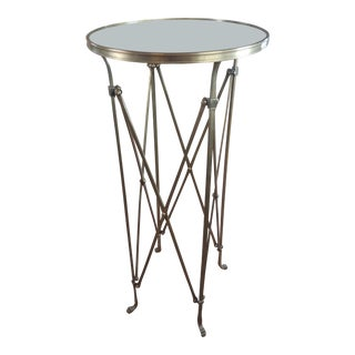 French Director Empire Campaign Bronze Tall Side Table For Sale