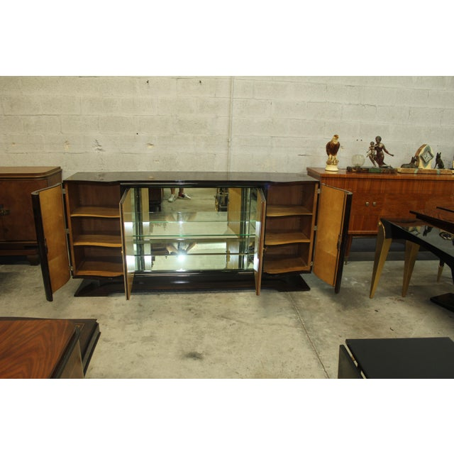 Classic French Art Deco Macassar Sideboard or Bar With Parchment Center Door By Maurice Rinck , Circa 1940s. - Image 10 of 11