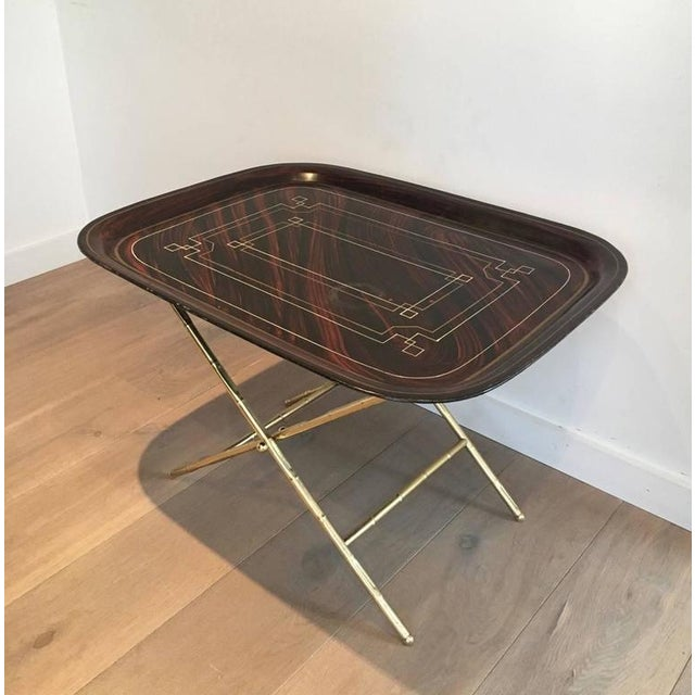 Gold French Brass Tray Table with a Lacquer and Gold Metal Top For Sale - Image 8 of 11