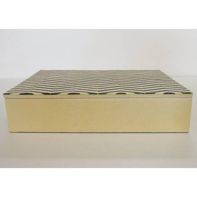 Fabio Ltd Ivory and Black Shagreen Box by Fabio Ltd For Sale - Image 4 of 7