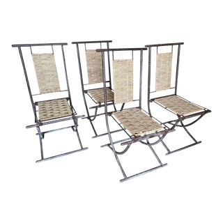 Iron and Woven Wicker Dining Chairs, France - Set of 4 For Sale
