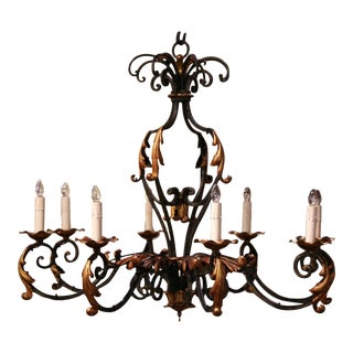 Early 20th Century French Louis XV Painted & Gilt Six-Light Iron Chandelier For Sale