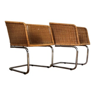 Mid-Century Modern Harvey Probber Style Wicker Chrome Cantilever Bucket Chairs - a Pair For Sale