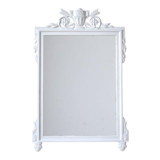 Vintage White Directoire Wall Mirror With Crossed Arrows For Sale