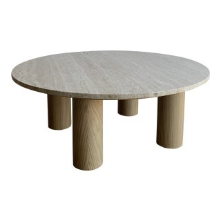 Soaped Oak and Travertine Coffee Table For Sale