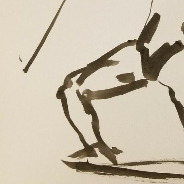 Contemporary Art Impressionist Black Ink Wash on Paper Collectible Fencing by Jose Trujillo For Sale - Image 3 of 5