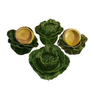 1930s Vintage Portuguese Majolica Cabbage Shaped Leaf Soup Bowls - Set of 4