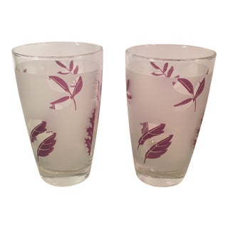 Libby Mid-Century Modern Frosted Leaf Glasses - A Pair
