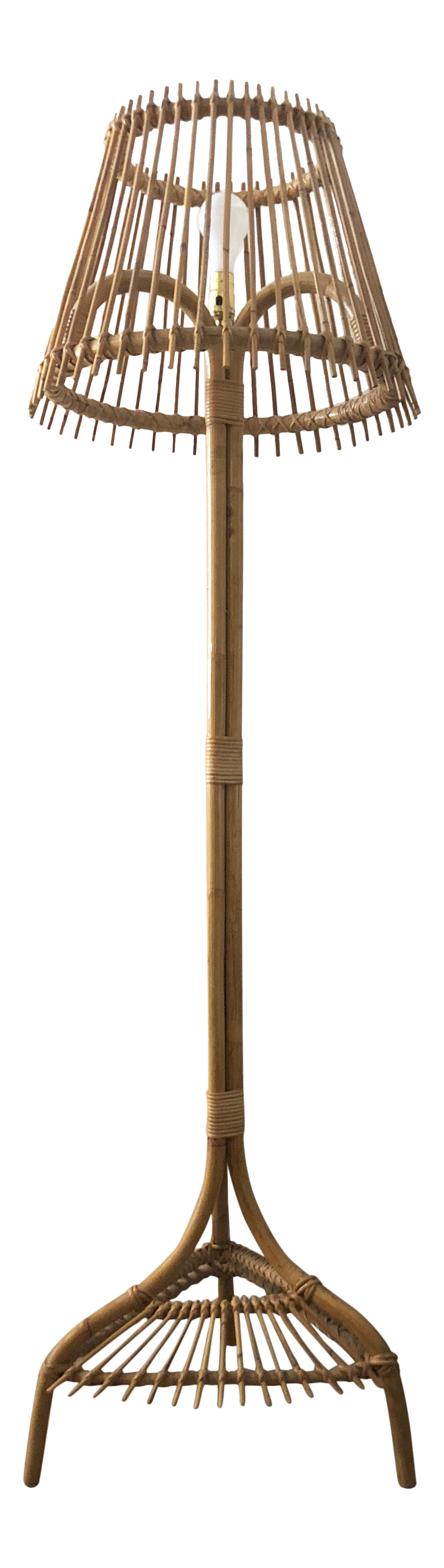Mid Century Bamboo Floor Lamp   Image 1 Of 10
