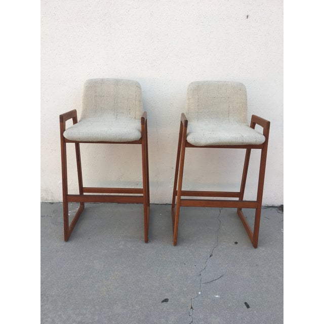Pair of Koefoed bar stools, original upholstery in perfect condition. Great mid century classic, teak frame, upholstered...