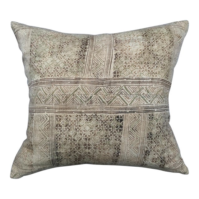 Hand Loomed Tribal Batik Textile Pillow - Image 1 of 7