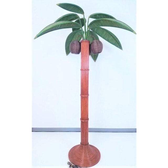 Vintage Mario Lopez Torres Rattan Wicker Palm Tree Lamp  For Sale - Image 12 of 13