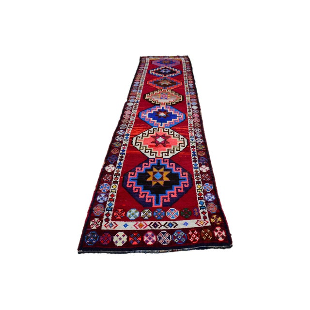 Kurdish Colorful Hand-Knotted Wool Runner Rug For Sale - Image 9 of 9