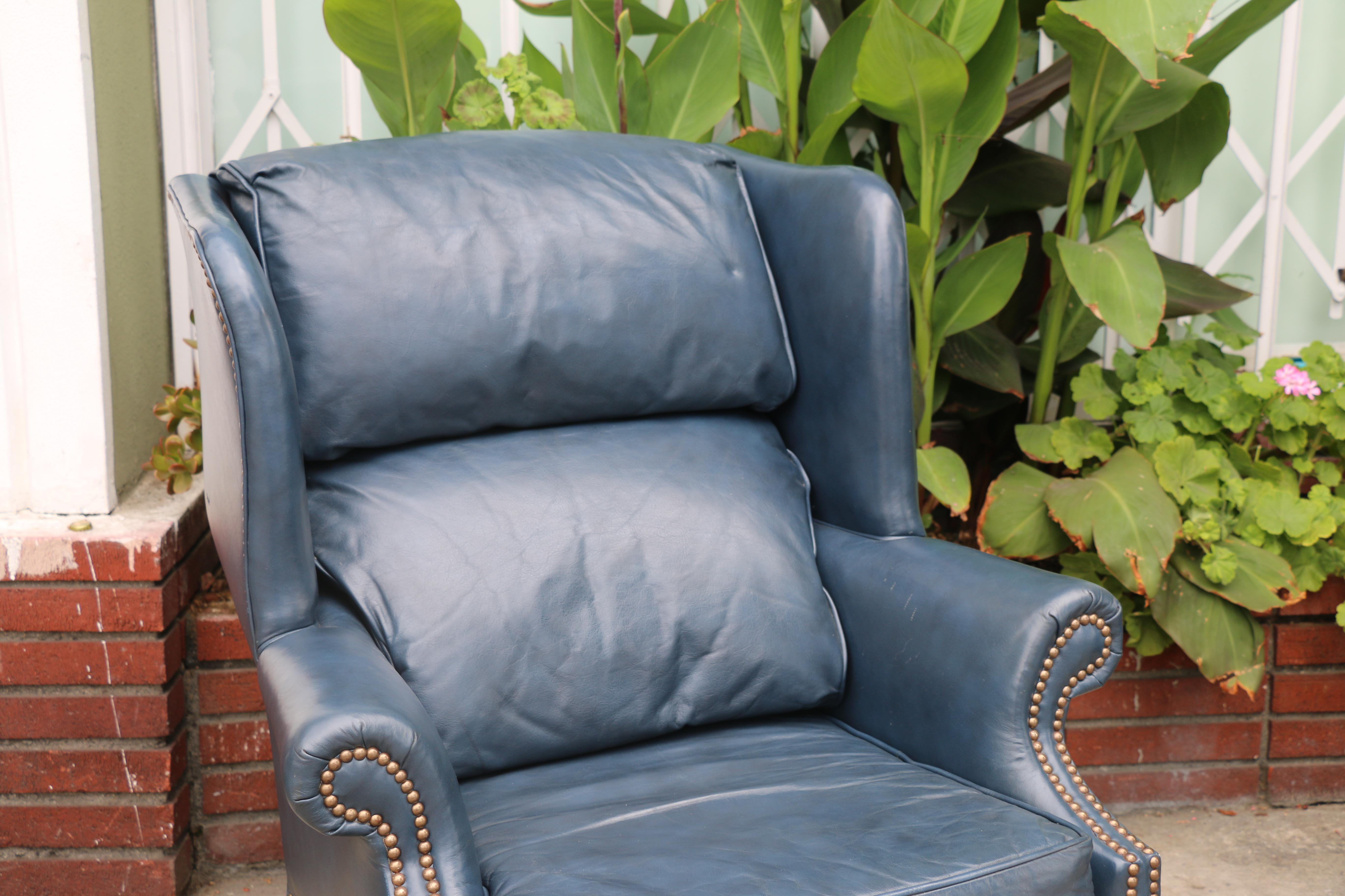 Leather Teal Wingback Chairs   A Pair For Sale   Image 4 Of 11