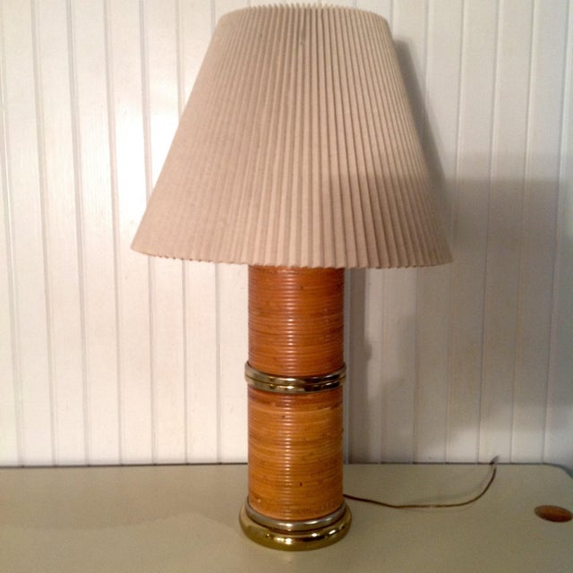 """Gabriella Crespi Style Pencil Bamboo Wrapped Brass Lamp with original pleated shade. Shade is 20"""" wide. We ALWAYS accept..."""