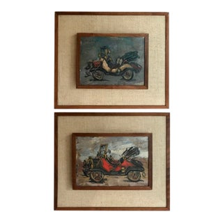 1950's Framed Original Antique Automobile Paintings - A Pair For Sale