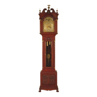 Waltham Antique Carved & Inlaid Mahogany Grandfather Clock For Sale