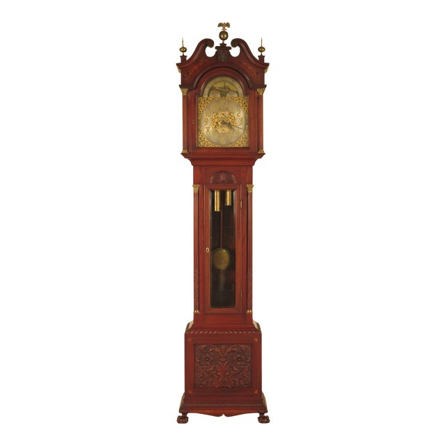 Waltham Antique Carved Amp Inlaid Mahogany Grandfather Clock