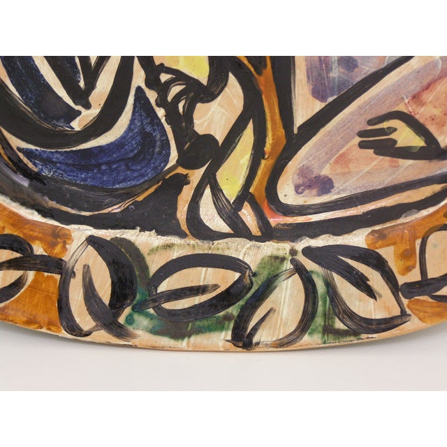 Picasso Style Mid-Century Modern Ceramic Wall Plaque Sculpture Plate MCM - Image 8 of 11