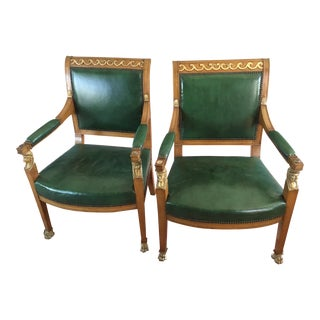 Early 20th Century Leather Library Chairs- A Pair For Sale