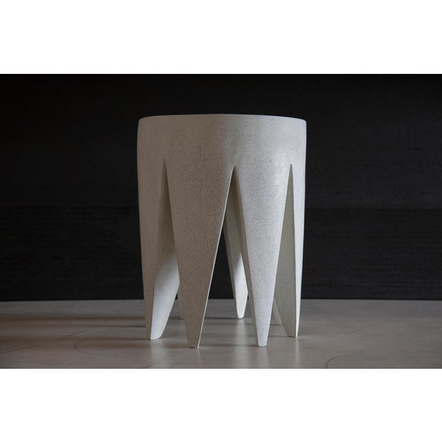 Plastic Cast Resin 'King Me' Side Table, Aged Stone Finish by Zachary A. Design For Sale - Image 7 of 8
