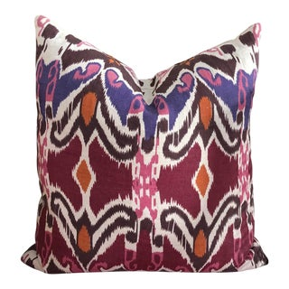 Jewel Tone Linen Ikat Pillow For Sale
