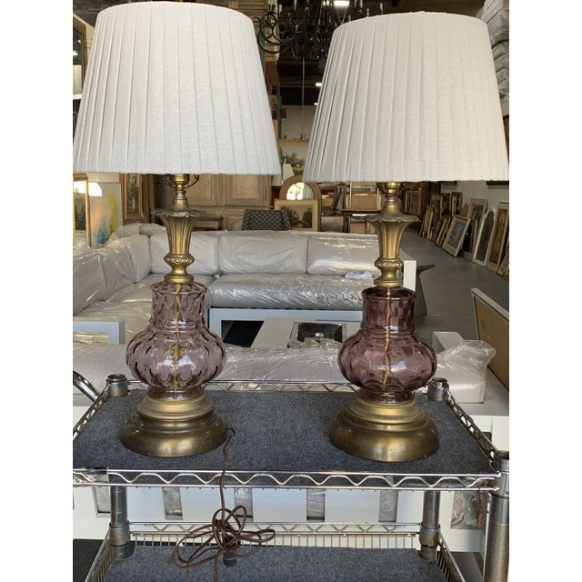 Venetian Purple Glass Lamps - A Pair For Sale - Image 9 of 10