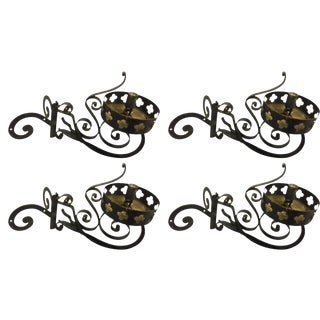 Iron Corner Outdoor Wall Sconces - Set of 4 For Sale