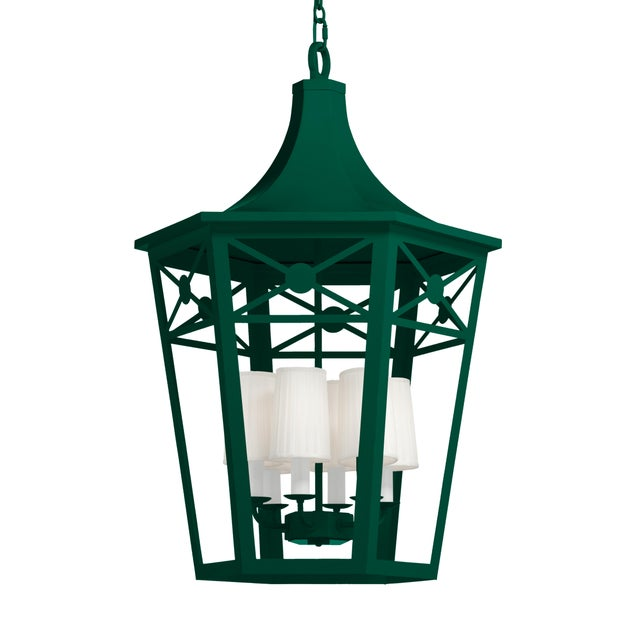 Casa Cosima Designers' Palette Bennington Lantern, Chrome Green For Sale - Image 4 of 4