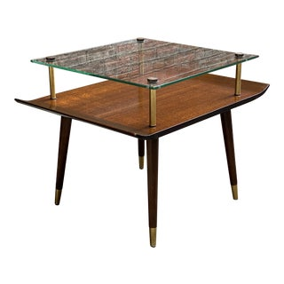 1950s Mahogany and Glass Modern End Table For Sale