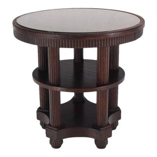 Fluted Legs Round Center Pedestal Gueridon Table Art Deco Arts and Crafts Oak For Sale
