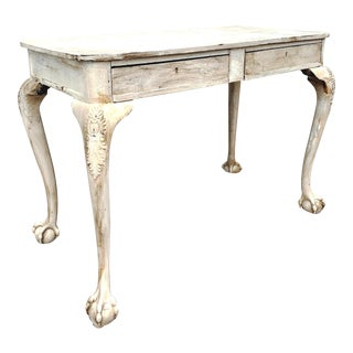 Antique Early American White Painted Ball and Claw Foot Writing Desk For Sale