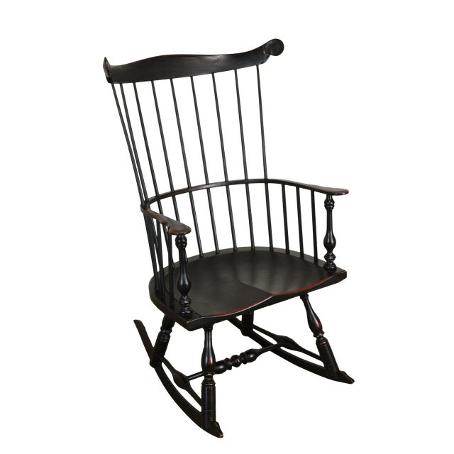 Custom Crafted Distressed Black Painted Windsor Rocker Rocking Chair For Sale