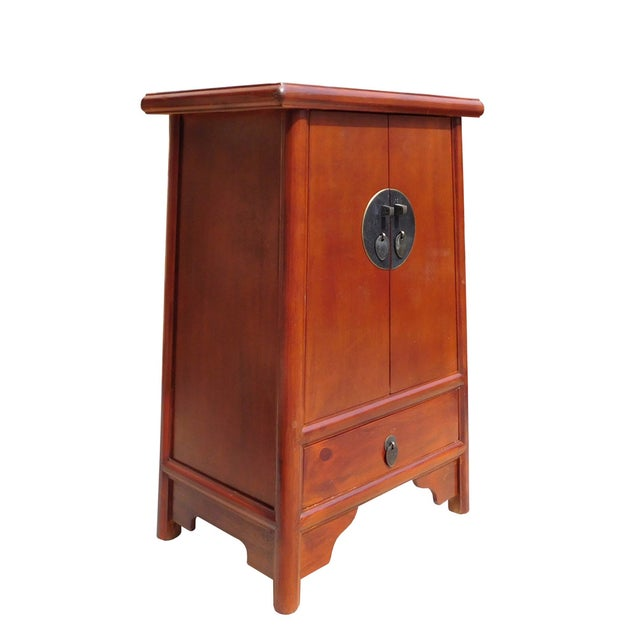 Brown Chinese A Shape End Table/Nightstand - Image 3 of 5