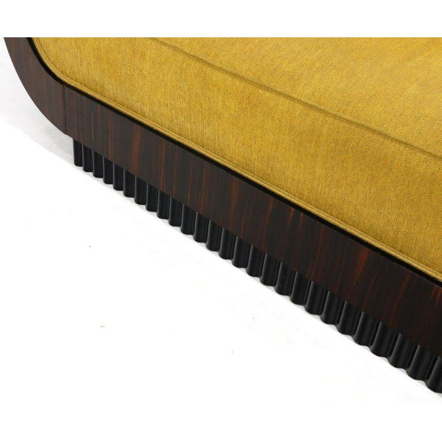 Large French Art Deco Rosewood Sofa in Gold Upholstery Scalloped Edge For Sale - Image 12 of 13