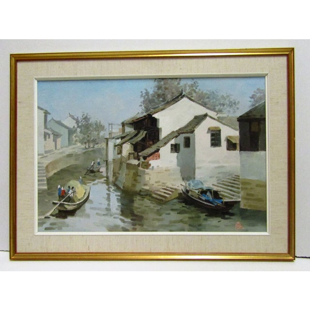 Boats on a Canal Oil Painting by Wang Ren Ji - Image 3 of 5