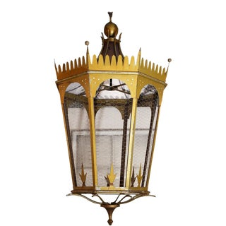 Large Italian Gold-Painted Lantern For Sale