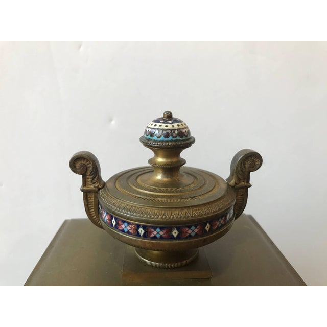 Bronze 19th Century Antique French Champlevé Mantle Clock For Sale - Image 7 of 10