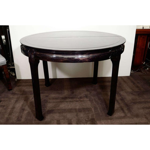 Black Modern Round Pagoda Dining Table in The Manner of James Mont For Sale - Image 8 of 11