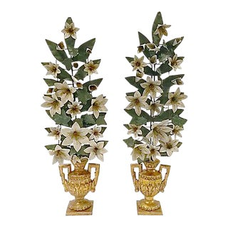 Vintage Tole Floral & Urn Garnitures - A Pair For Sale
