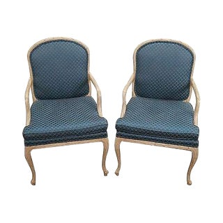 Quality Pair of Faux Naturalistic Carved Arm Chairs (A) For Sale