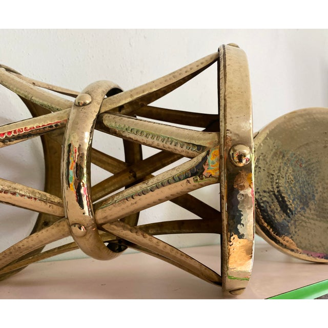 Metal Mid Century Hollywood Regency Polished Brass Drum Tables, a Pair For Sale - Image 7 of 11