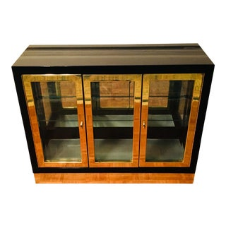 Mastercraft Brass & Black Lacquered Vitrine