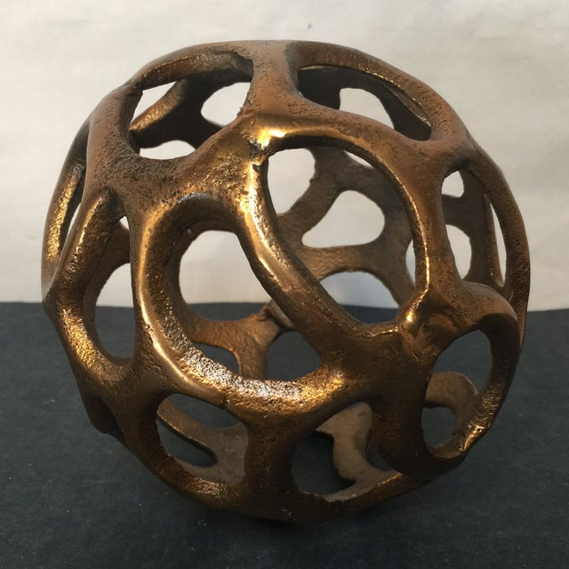 Round Gold Metal Orb - Image 6 of 6