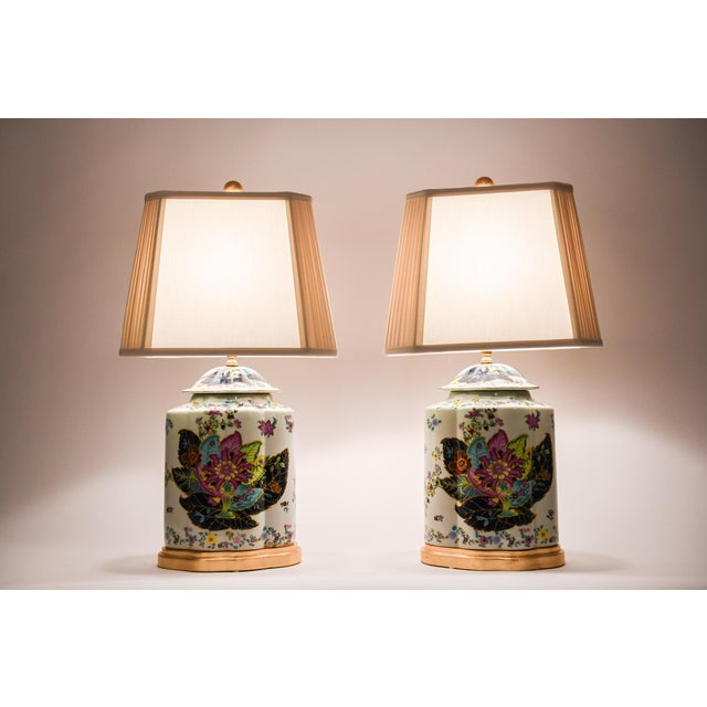 Late 20th Century French Porcelain Lamps With Wood Base - a Pair For Sale - Image 12 of 13