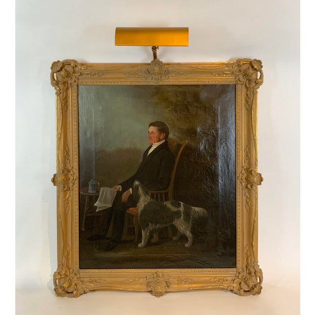 19th Century Portrait of a Distinguished Gentleman with Dog Oil Painting, Framed For Sale - Image 13 of 13